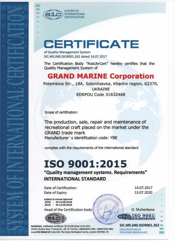 Πιστοποίηση GRAND MARINE με ISO 9001